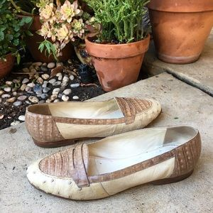 Vintage Mauri Ostrich Leather Snake Skin Loafers